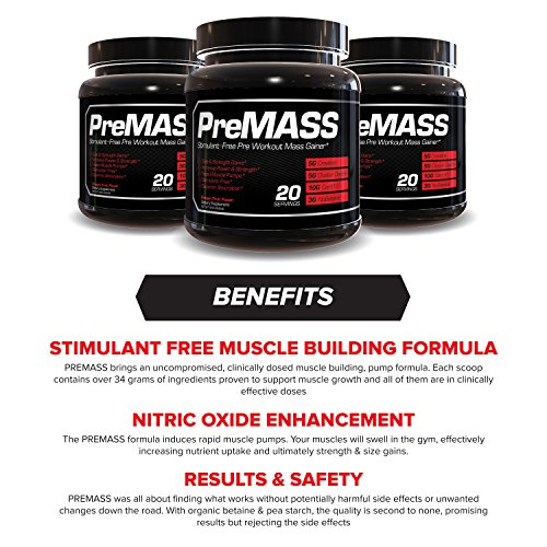 RAW Synergies PRE MASS Gainer Workout Supplement, Pre Workout Muscle Builder & Nitric Oxide Booster – Natural Weight Gainer – Caffeine Free, Effective Intra & Post Muscle Building, Dragon Fruit, 688G by RAW Synergies (Image #3)