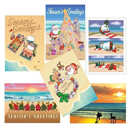 - Beach Christmas Card Variety Pack - 18 Cards & Envelopes - 6 Designs, 3 Cards Per Design - Assortment #3