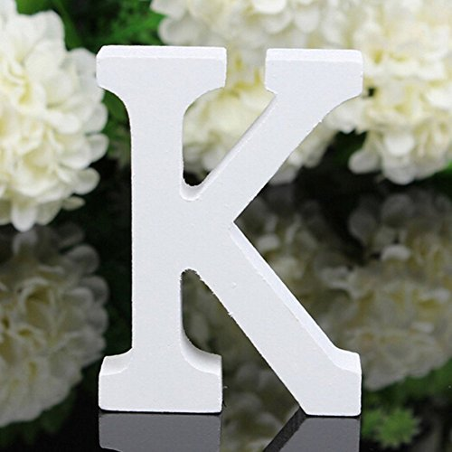 Totoo Decorative Wood Letters, Hanging Wall 26 Letters Wooden Alphabet Wall Letter for Children Baby Name Girls Bedroom Wedding Brithday Party Home Decor-Letters (K) ()