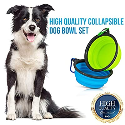Starling's Collapsible Dog Travel Bowl - Water & Food Bowl Set by Silicone BPA Free & FDA Approved- W/D-Ring. Foldable, Portable - Ideal for Traveling, Hiking, Camping. by Starling's