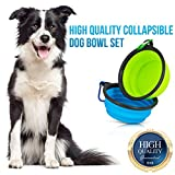 Starling's Collapsible Dog Travel Bowl - Water & Food Bowl Set By Silicone BPA Free & FDA Approved- W/D-Ring. Foldable, Portable - Ideal for Traveling, Hiking, Camping.