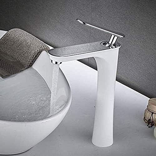 ZJN-JN 蛇口 タップキッチンシンクミキサー流域の蛇口背の高いタップ浴室の蛇口真鍮製ホワイトクローム仕上げのシングルハンドルホット冷たい水シンクタップミキサー 台付