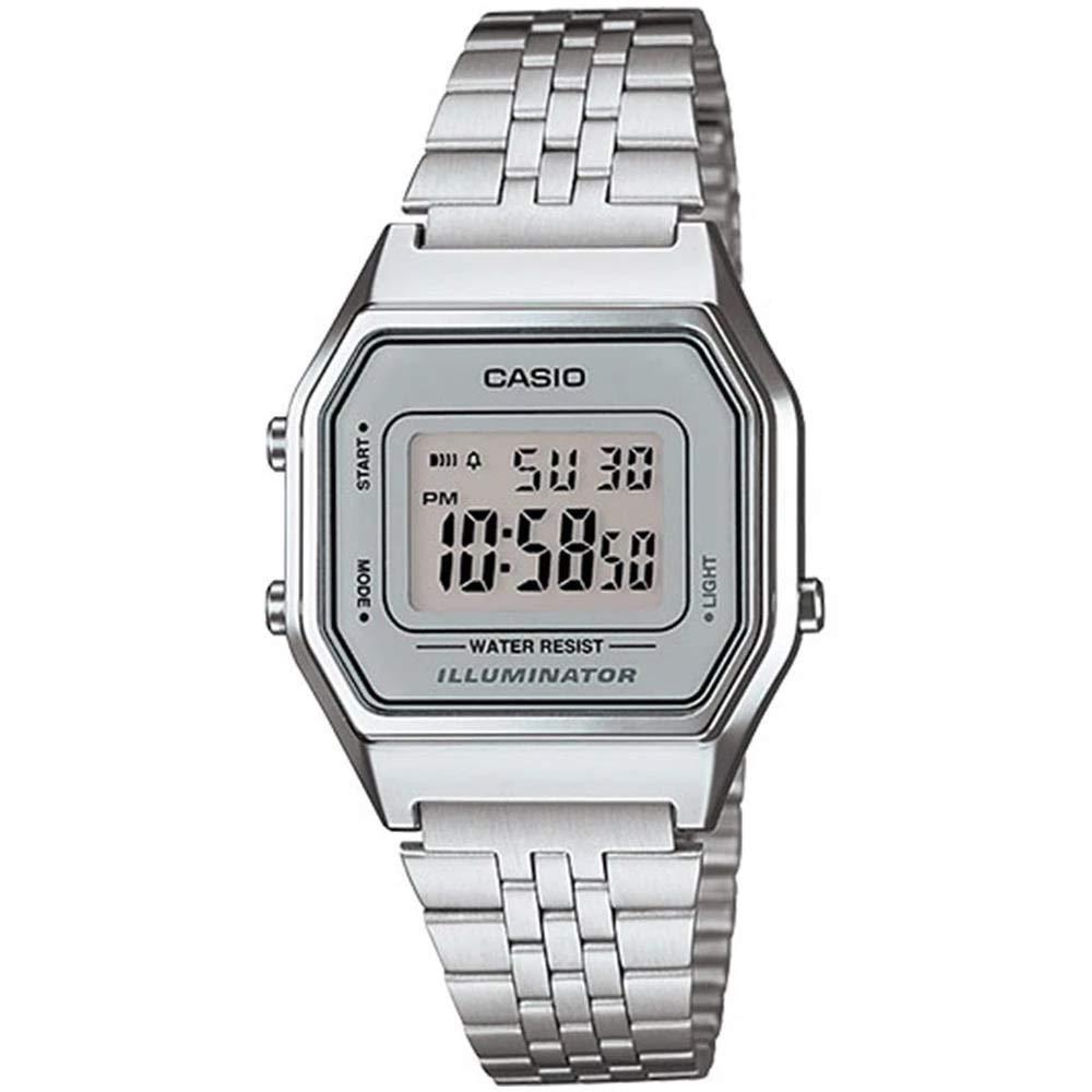 Ladies Mid-Size Silver Tone Digital Retro Watch LA-680WA-7DF