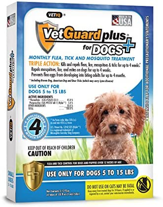 VetGuard Plus Flea & Tick Treatment for Small Dogs, 5-15 lbs, 4 Month Supply
