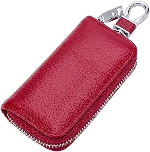 男性と女性のための適切な車のキーケース、キー財布クラシックプレミアムレザーキーホルダーケース車のキーチェーン財布バッグジッパーキーリング (Color : Red)