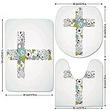 3 Piece Bathroom Mat Set,Baptism,Cross-Made-from-Flowers-Blessing-Blossom-newborn-Catholic-Party-Illustration,Seafoam-Avocado-Green.jpg,Bath Mat,Bathroom Carpet Rug,Non-Slip