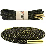 YJRVFINE 1 Pair 47.24'Round Metallic Simple Sense Shoestrings for Basketball Shoes Rope Shoelaces Black With Metal Tips