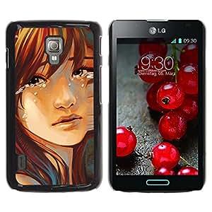 LECELL -- Funda protectora / Cubierta / Piel For LG Optimus L7 II P710 / L7X P714 -- Sad Girl --