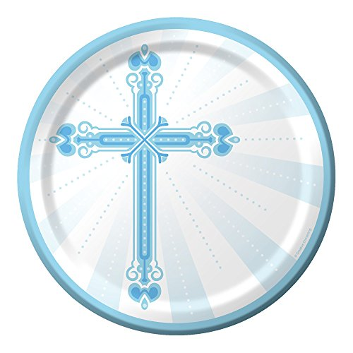 (Blessings Blue 9-inch paper Plates 18 Per Pack - For Boy's First Communion, Baptism, Christening, and Religious)