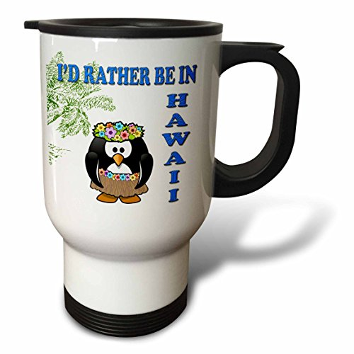 3dRose tm_216431_1 Id rather be in Hawaii. Hawaiian flower. Popular saying-Travel Mug, 14 oz, Stainless Steel, White by 3dRose