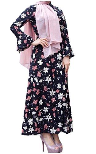Musulmani Dai Di Coolred Swing Vestito donne Grande Maxi Alta Nero A Stampate Manica Pagoda Vita xwWqqXYI