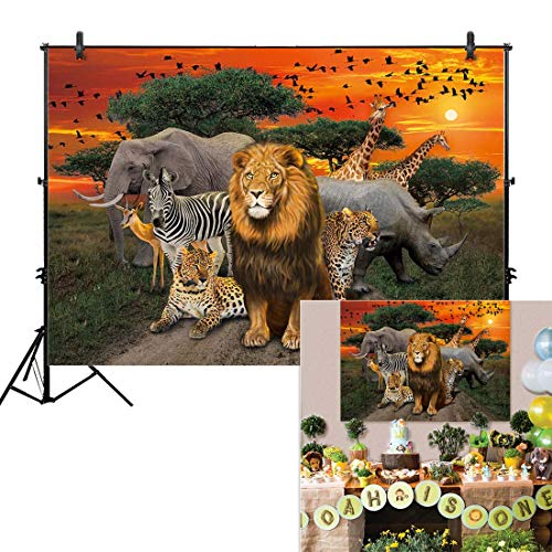 Allenjoy 7x5ft Jungle Safari Backdrop for African Desert Animal Forest Summer Sunset Scenic 1st First Birthday Party Photography Event Table Decoration Banner Background Children Photo Booth Shoot
