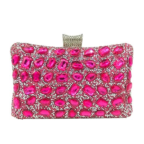 Elegant Hot-Fixed Women Gold Crystal Evening Purse Wedding Party Prom Rhinestones Handbag Clutch Minaudiere Bag Pink Fit For Iphone7 ()