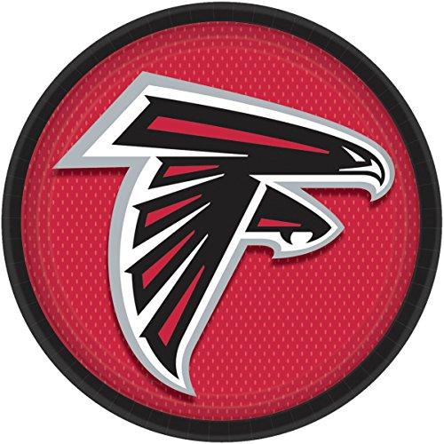 Amscan Atlanta Falcons NFL Football 9 inch Dinner Plates, Black Red, 8 ()