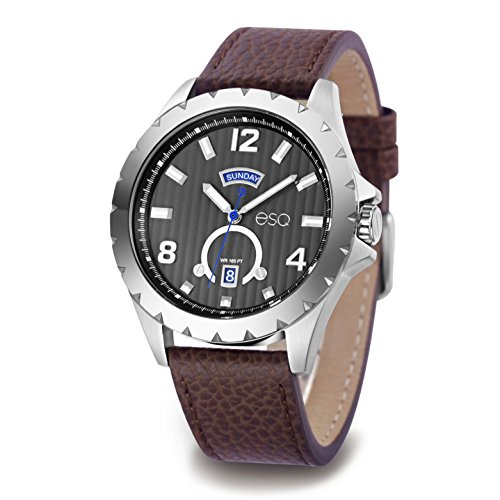 ESQ Men's Quartz Stainless Steel and Leather Casual Watch, Color:Brown (Model: 37ESQE07001A) - Esq Quartz Watch