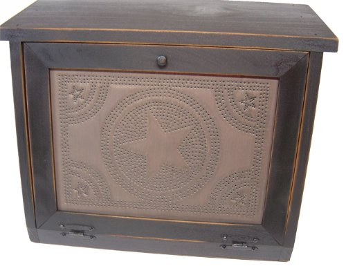 Country Rustic Primitive Bread Box with Star Tin Panel