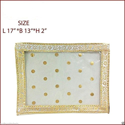 5 Pack/Golden Sari-Saree/Lehenga Cover-Bags-Packaging-Storage ONE Side Cloth Clear (5)