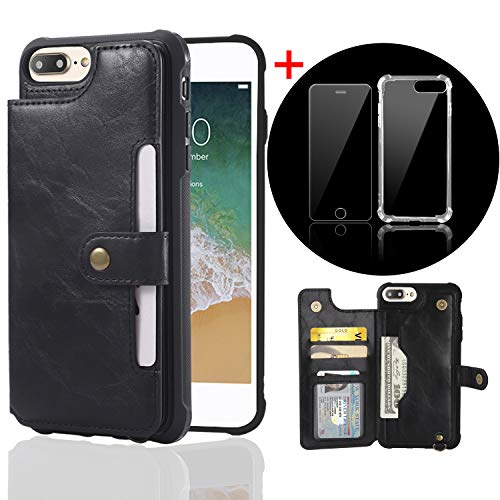 Bangcool iPhone 8 Plus Wallet Case Credit Card Holder Slim Shockproof Flip Case Cover Compatible with iPhone 7 Plus/8 Plus Clear Bumper Soft TPU Cover Case Screen Protector Glass