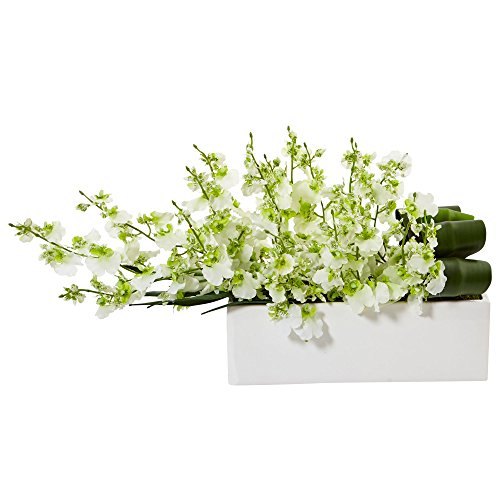 (Nearly Natural Dancing Lady Silk Orchid in Planter Green)