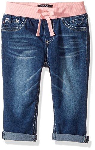 VIGOSS Girls' Big Knit Waist Crop Short, True Blue, 16
