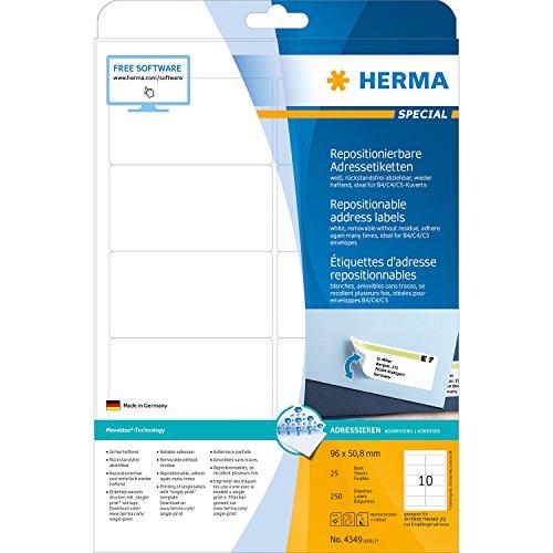 Herma 4349 Adressetiketten (A4 repositionierbar Papier matt, 96 x 50,8 mm) 250 Stück weiß
