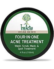 (120ml) - TreeActiv Anti Acne & Rosacea Treatment Sulphur Mask Plus Rhassoul, Bentonite Clay Mask with Witch Hazel & Aloe Vera - Refreshing Lemon Scent (1 Jar) (120ml)