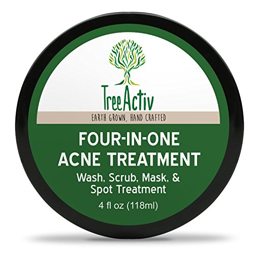 TreeActiv Four-in-One Acne Treatment | Wash, Scrub, Mask, and Spot Treatment | Heals Rosacea | Exfoliating Sugar | Face or Body | Natural Sulfur Clear Skin Cleanser | Bentonite (4 Oz) ()