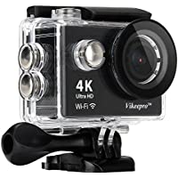 Vikeepro Action Camera 4K Waterproof Sports Camera With 170 Degree Ultra-Wide Angle Lens, Wi-Fi Wrist 2.4G, Wireless RF Remote Control, 2 Batteries and Free Accessories Kit (Black)