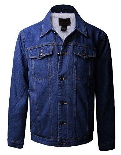 Boy's Junior's Premium Button Up Denim Fur Lined Trucker Sherpa Jean Jacket (12, Dark Blue)