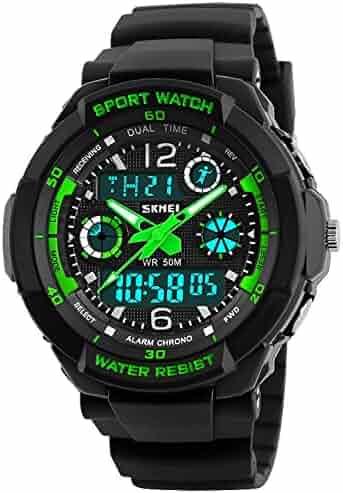 Kids Sports Watch Waterproof Outdoor Digital Wrist Watches for Boy Greencolor