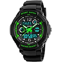 PASNEW 0931multifunción 50m impermeable LED dual time Deportes muñeca relojes para Boy Girl Regalos, S, Verde