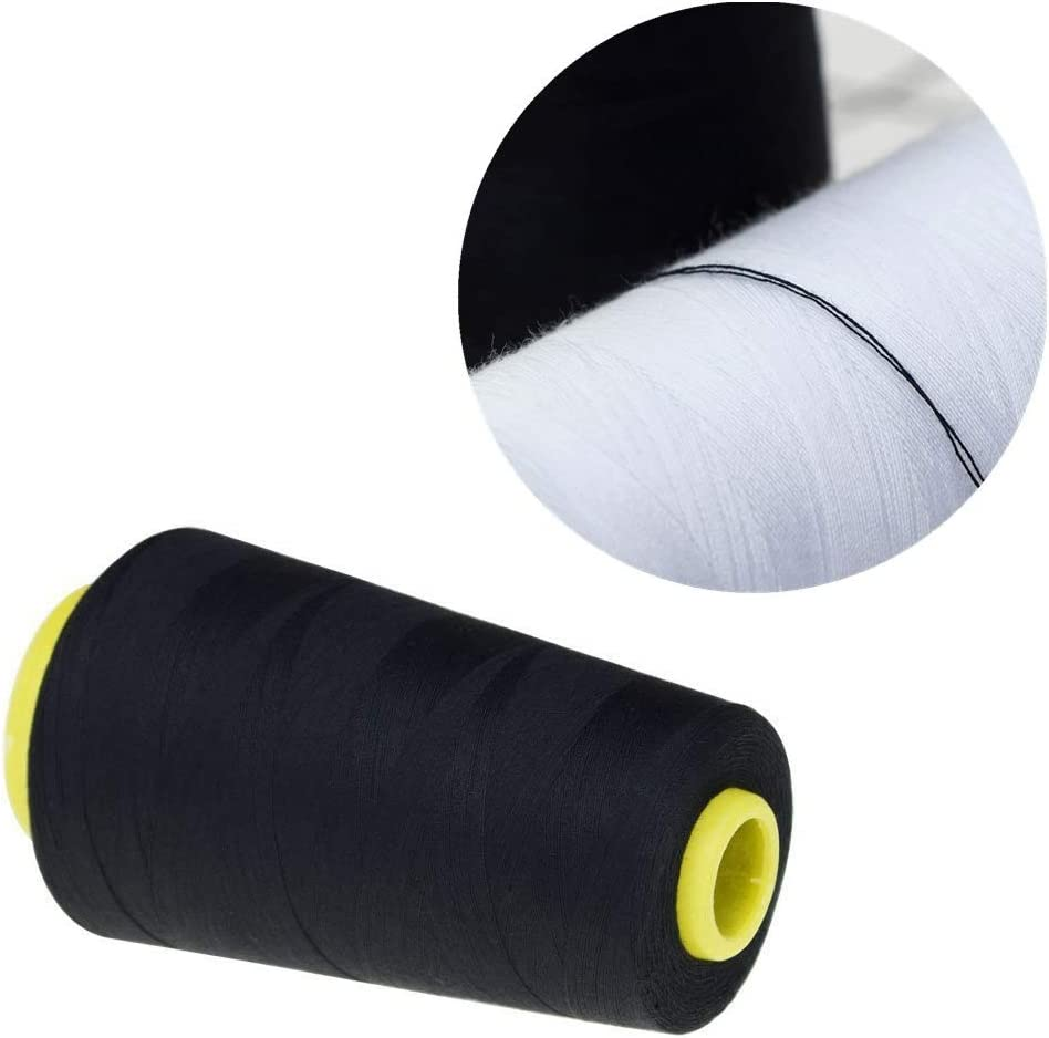 TXIN 2 Pieces Polyester Sew Quilting Thread Sewing Threads for Sewing Machine Upholstery Handcraft Black /& White