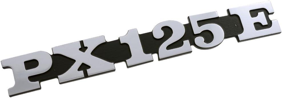 Schriftzug Emblem f/ür SeitenhaubePX 125E schwarz//alu 158x20mm 2 Pin