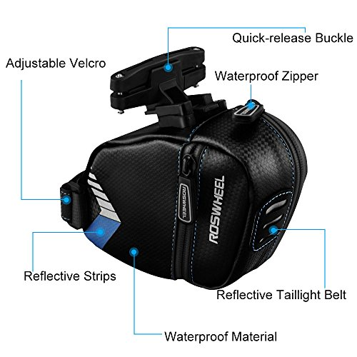 Welltop Waterproof Bicycle Saddle Bag, Bike Under Seat Bag ,Cycling Bicycle Bag with Reflective Strips and Taillight Belt