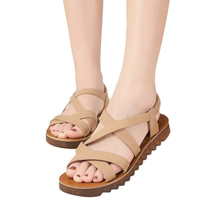 e6c0f386cc6a9 Women Roma Gladiator Strappy Flat Thong Criss Cross Ankle Wrap Summer  Fisherman Beach Sandals Casual Shoes Strap Hiking at Amazon Women s  Clothing store