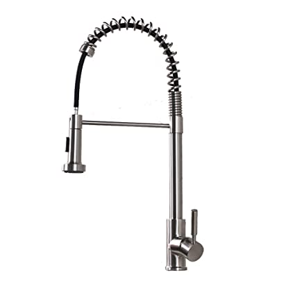 Lordear Slc16089 Best Modern Commercial Brushed Nickel Pull Out Sprayer Single Handle Kitchen Faucet Pull Down Kitchen Sink Faucets