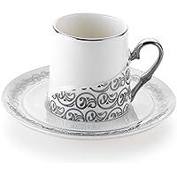 Schafer 4 Parça Ottoman Kahve Fincan Takımı Gümüş SHF 04487
