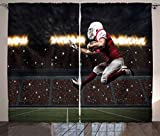 Cheap Lunarable Boy's Room Curtains, Football Player in a Red Uniform Running on a Stadium Professional, Living Room Bedroom Window Drapes 2 Panel Set, 108 W X 63 L Inches, Red White Olive Green