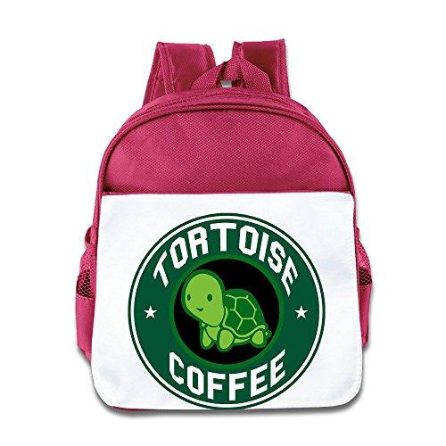 Logog 8 Cute Tortoise Coffee Cute Baby Boys Girls Tollder School Hiking Backpacks Bags Pink