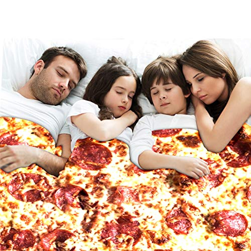 Freesooth Pizza Throw Blanket Novelty Pizza Blanket Funny Food Blanket Comfortable Soft and Cozy Tortilla Throw Blanket for Bed,Couch or Travel