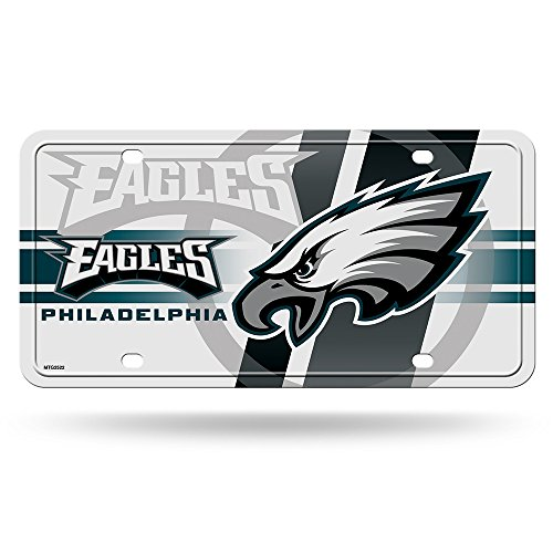 Rico NFL Philadelphia Eagles White Circle Metal License Plate Tag