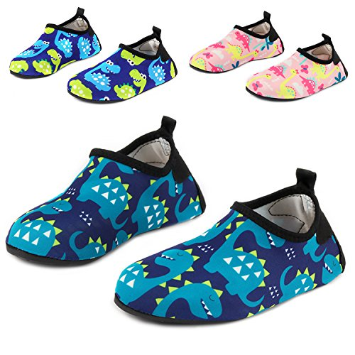 Yidomto Kids Water Shoes, Quick Dry Barefoot Socks for Toddler Boys & Girls on Beach Swim Pool(Blue/snake-32/33) - Kid Snake Girl Shoe