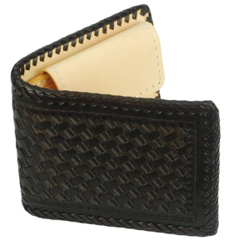 Leather Inside Tan Texture Tooled BiFold Wallet Pocket Brown Weave Coin 1H1vqr