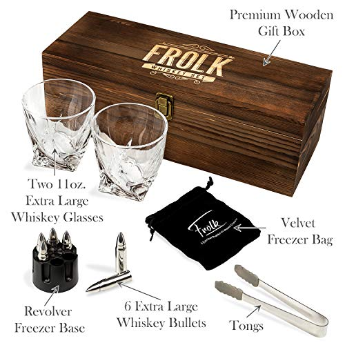 Whiskey Bullet Stones Premium Gift Set By Frolk, Set Of 6 Extra Large Stainless Steel Whiskey Stones, 2 Large Twisted Whiskey Glasses (11 oz), Freezer Base, Velvet Pouch & Tongs In Novelty Wooden Box by Frolk (Image #1)