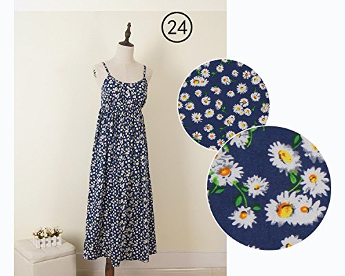 Sexy Beach Print JIANLANPTT Women's Casual Spaghetti Yellow Blue Dress Strap Daisy Floral Xg6w6q5