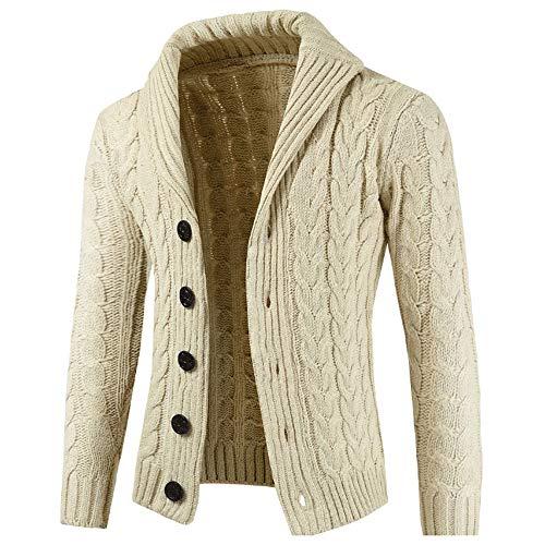 clearance sale!!ZEFOTIM Mens Autumn Winter Zip Casual Long Sleeve Slim Pocket Fit Sweater Jacket BG/M(XXX-Large,Beige)