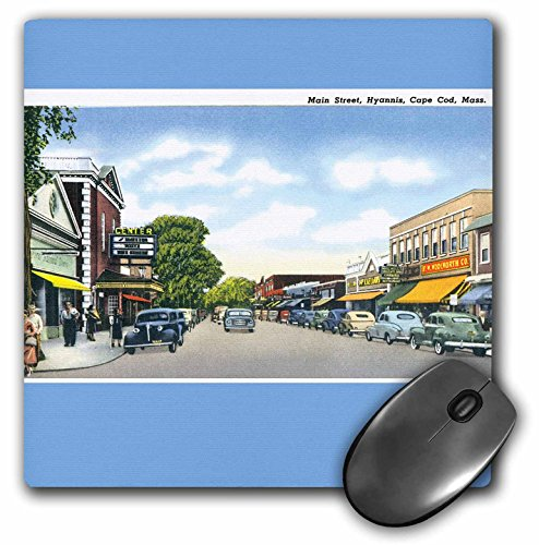 Street Scene Antique (3dRose Main Street, Hyannis, Cape Cod Street Scene with Antique Cars - Mouse Pad, 8 by 8 inches (mp_170226_1))