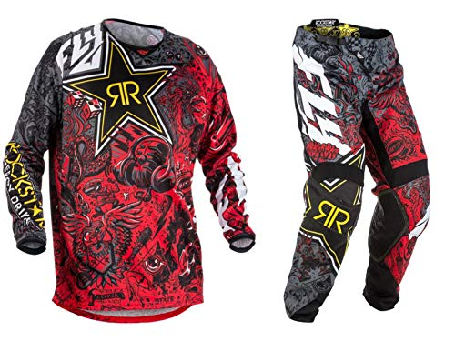 New Fly Racing Kinetic Rockstar Energy Jersey & Pants Combo Set MX ATV Riding Gear (Large / ()