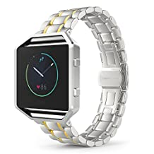 Fitbit Blaze Watch Band, MoKo Stainless Steel Metal Replacement Smart Watch Strap Bracelet for Fitbit Blaze Smart Fitness Watch, Frame NOT Included - SILVER & GOLD