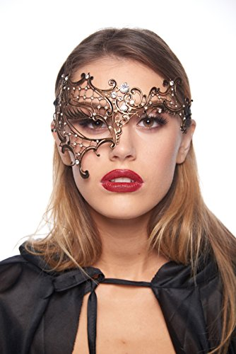 Exquisite Phantom of The Opera Vintage Gold Masquerade Mask (Unisex; One Size Fits Most; Clear Rhinestones)